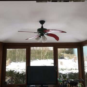 Conservatory ceiling fan installation