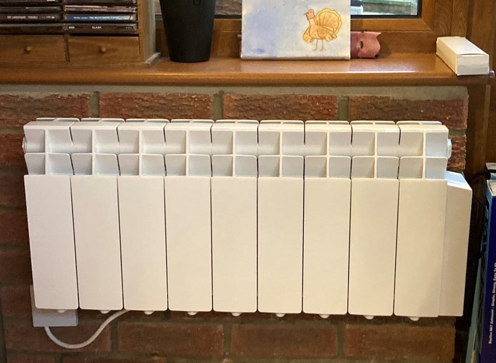 New Farho electric radiator installed in a conservatory